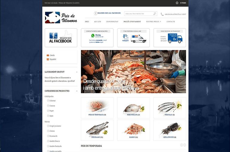 Diseño de tienda online para Peix de Vilanova