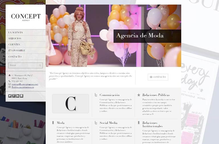 Diseño página web para Concept Agency