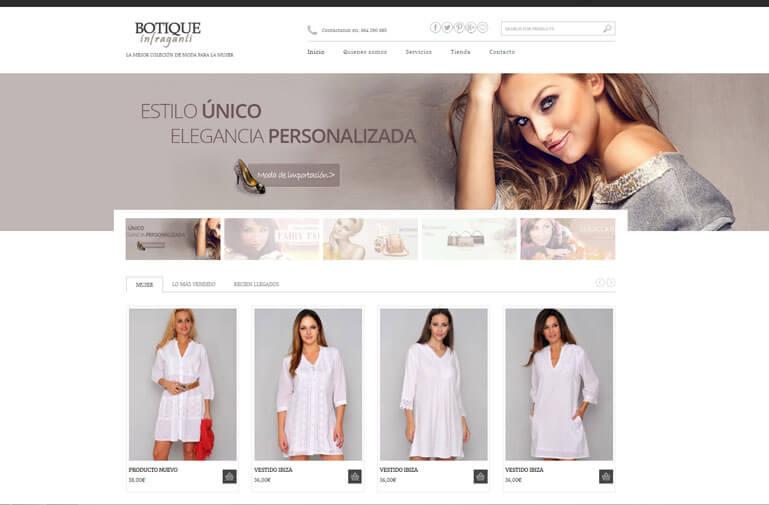 Diseño tienda online para Botique Infraganti
