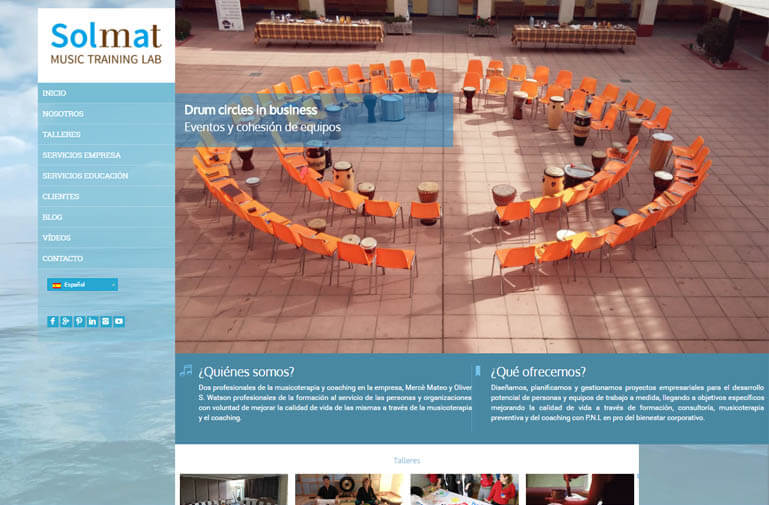 Diseño página web para Solmat Musicoterapia