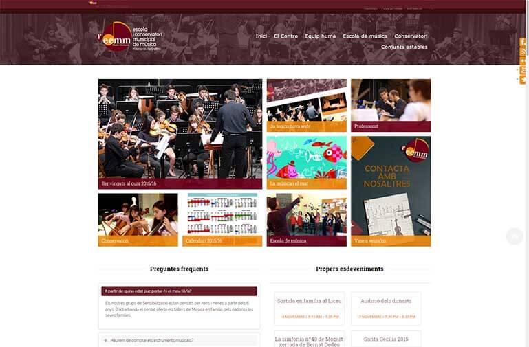 Disseny web per l'Escola de música de Vilanova i la Geltrú