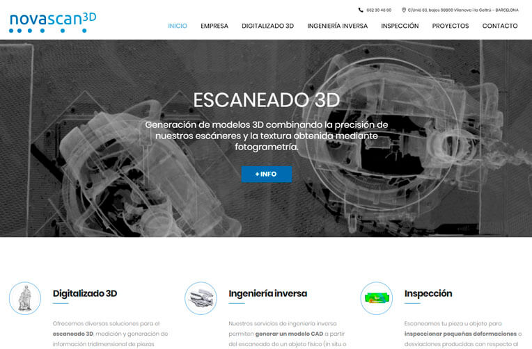 Diseño Página Web para Novascan3D